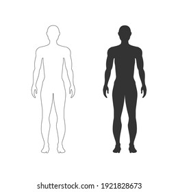 men body icon Vector illustration. Male human body silhouette with flat and line concepts.