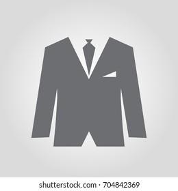 men business attire suit  icon, elegant man suit vector icon