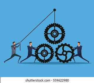 men business cooperation gears team work