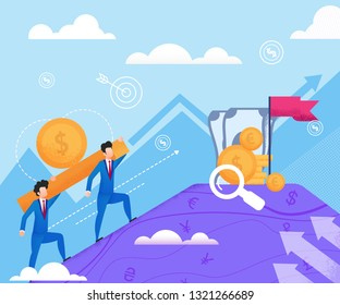 Men in Business Suits Carry Gold Bar. Vector Flat Illustration on Blue Background. Happy Men Carry Money to Mountain against Sky and Clouds. Profitable Capitalization Cash in Industry.