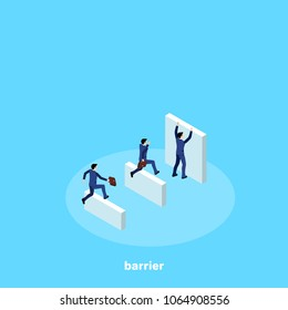Men in business suits overcome the road with obstacles, isometric image