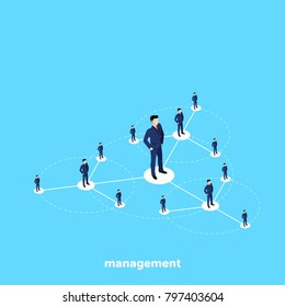 men in business suits stand on the management structure diagram, isometric image