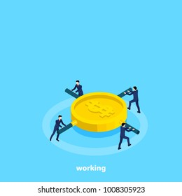 men in business suits twist a coin flywheel, isometric image
