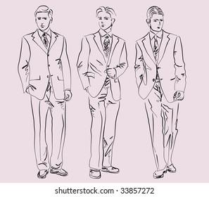 men in business suits, vector