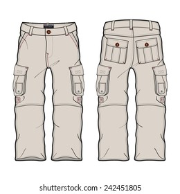 Men Cargo Pants Vector Template