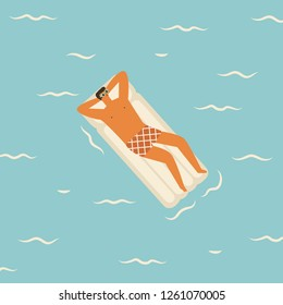 Men cartoon character swimming on the mattress in the pool summer illustration in vector. Travel summertime poster to card.