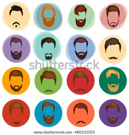 Men Cartoon Hairstyles Beards Mustache Vector Line Stock Vector