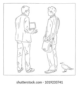 Men in casual dress, back view. Stand, explain, show - with leather case and tray. There's a seagull in front of it. Hand-drawn illustration, doodle, for presentation.