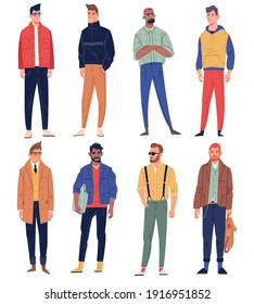 Men characters. Male people elegant street look, trendy fashion clothes, hipster casual outfits, business, sport and free styles. Vector set