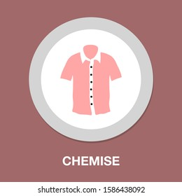 men chemise icon - vector polo shirt illustration, fashion design template