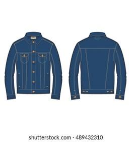 Men Classic Denim Jacket Template
