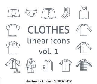 Männer ziehen flache Vektorsymbole an. Einfache lineare Symbole männlicher Grundkleidung. Hauptkategorien für Online-Shop. Übersichtliche Infografiken. Contour-Silhouetten von Unterwäsche, Hemden, Wohnkleidung
