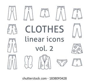 Männer ziehen flache Vektorsymbole an. Einfache lineare Symbole männlicher Grundkleidung. Hauptkategorien für Online-Shop. Übersichtliche Infografiken. Stumpfsilben aus Hosen, Hosen, Business-Anzug
