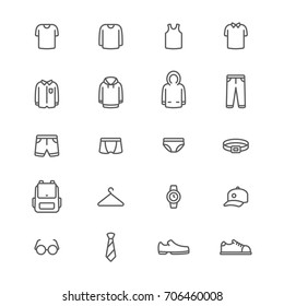 Men clothing and accessories line icons set, Vector on white background
