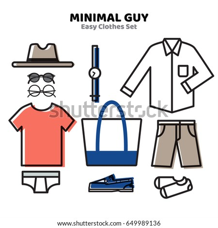 e0bd3c451d5a Men Clothing Minimal Outfit Style Summer Stock Vector (Royalty Free ...