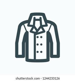 Men coat icon, autumn winter outerwear jacket vector icon
