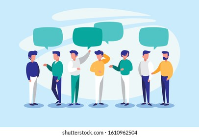 men with communication bubbles design, Message discussion conversation talk and technology Vector illustration