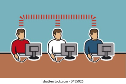 Men At Computers Networking