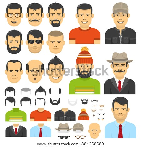 Men Flat Style Customizable Face Hairstyle Stock Vector Royalty