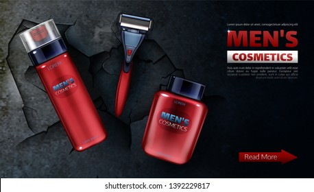 Men cosmetics, safety razor blade, shaving foam, after shave lotion. Body care cosmetic product in red bottle on black cracked background, promo banner mock up 3d realistic vector illustration, poster