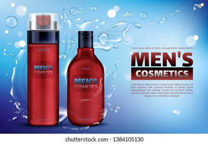 Men cosmetics, shower gel, shampoo, shaving foam 3d realistic vector ads poster. Body care cosmetic product in red bottle on blue background with water splash and flying drops, promo banner mock up