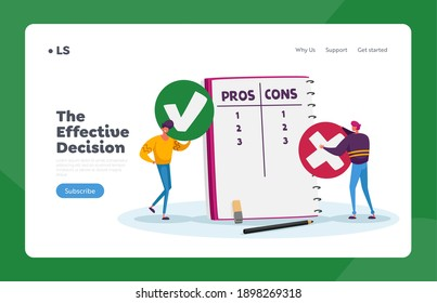 Men Count Advantages, Disadvantages of Deal Landing Page Template. Tiny Male Characters with Huge Check Mark Make Decision at Notebook with Pros or Cons List in Columns. Cartoon Vector Illustration