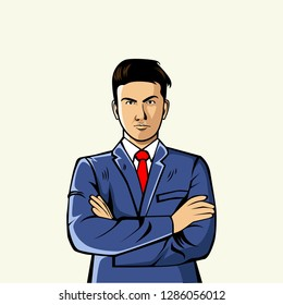 Men cross their arms using a red tie that looks neat and handsome Vector Illustration