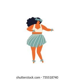 Men dancing Hula hawaiian dance illustration in vector.