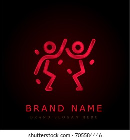 Men Dancing red chromium metallic logo