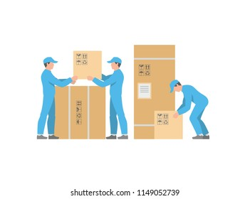 Men Delivery service with boxes. Warehouse workers. flat style. isolated on white background