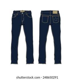 Men Denim Jeans Vector Template