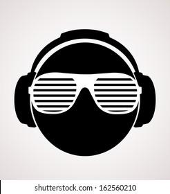 men dj in headphone. vector print illustration
