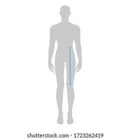 Men to do waist to knee measurement fashion Illustration for size chart. 7.5 head size boy for site or online shop. Human body infographic template for clothes.
