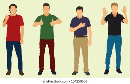Men Doing Hand Gestures