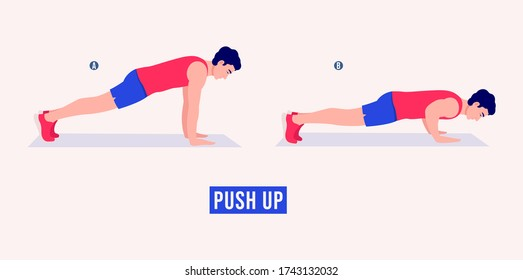 Men doing Push Up exercise, Men workout fitness, aerobic and exercises. Vector Illustration.