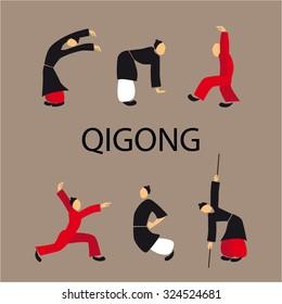 Men doing qi gong tai chi exercise. Vector illustration eps10. Flat disign.