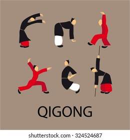 Men doing qi gong tai chi exercise. Vector illustration eps10. Flat disign.