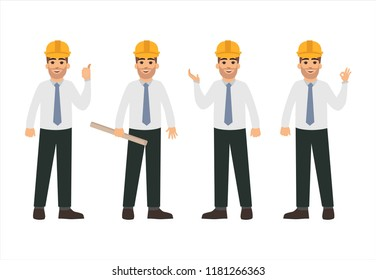 Men dressed in business suits and contractor helmets. Vector illustration in flat style. Engineer characters design. Professionals team.