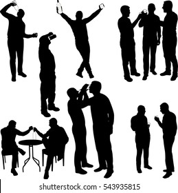 men drinking silhouettes - vector