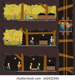 men extract coal in the mine. Coal industry, mine with many levels, workers, lift and appliances. vector