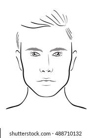 Men Face chart Makeup Artist Blank. Template. Vector illustration.