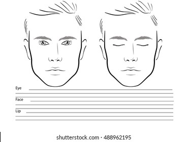 Men Face chart Makeup Artist Blank. Template. Vector illustration.