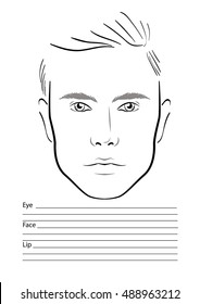 men face chart makeup artist blank template vector illustration