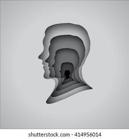 men face profile cut out paper