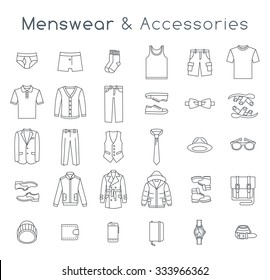Men fashion clothing and accessories flat line vector icons. Linear objects of male outfit, underwear, shoes and every day essentials for any season. Modern urban casual style collection