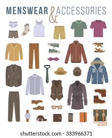8c8ce4822a3f Men fashion clothing and accessories flat vector icons. Objects of male  outfit, underwear,