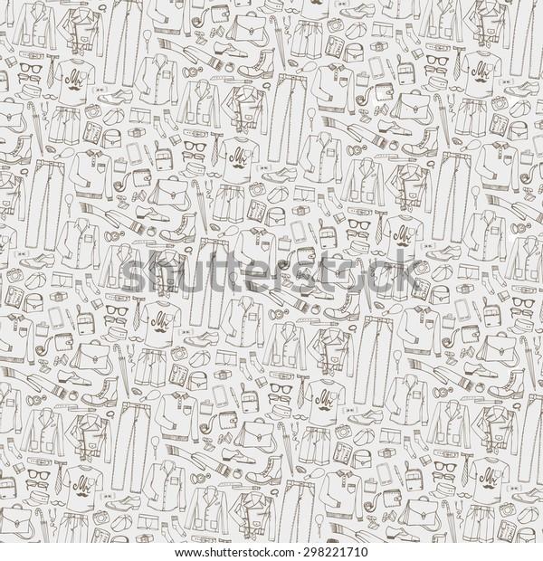 Men Fashion Pattern Background Doodle Modern Stock Vector