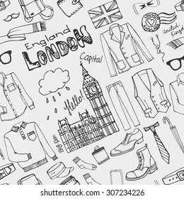 Men fashion wear seamless pattern background.Doodle modern male clothing set.London hipster,England Street casual apparel.Father day.Hand drawn Vector Illustration,outline sketch.