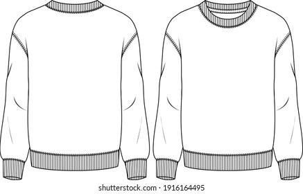 Men Fleece Top fashion flat sketch template. Technical Fashion Illustration. Boys Sweatshirt