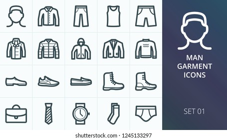 Men garment icons set. Set of men clothes, shoes and accessory icons